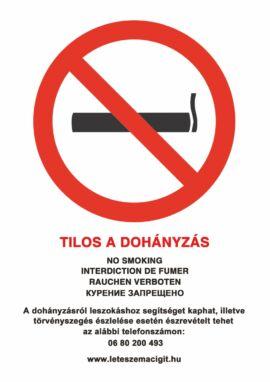 tilos a dohányzás tábla és matrica